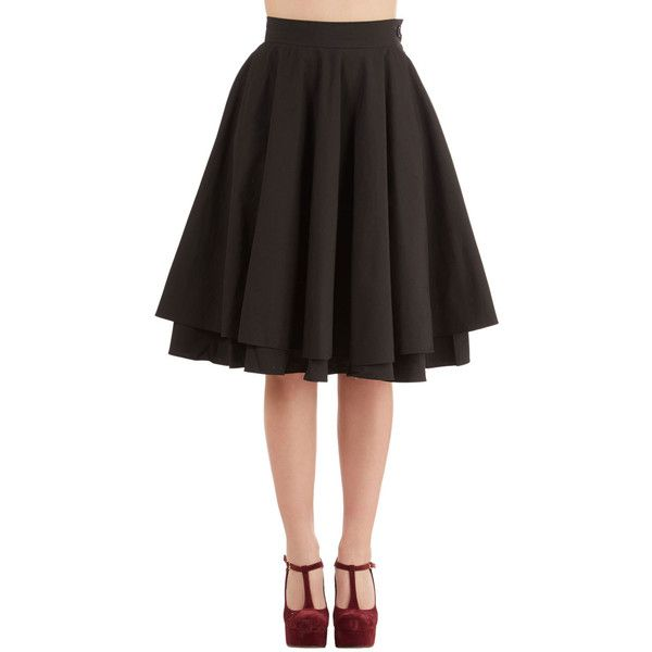 Rockabilly Long Full Essential Elegance Skirt ($70) ❤ liked on Polyvore featuring skirts, black, bottoms, modcloth, apparel, long skirts, black tiered maxi skirt, black circle skirt, black maxi skirt and skater skirt