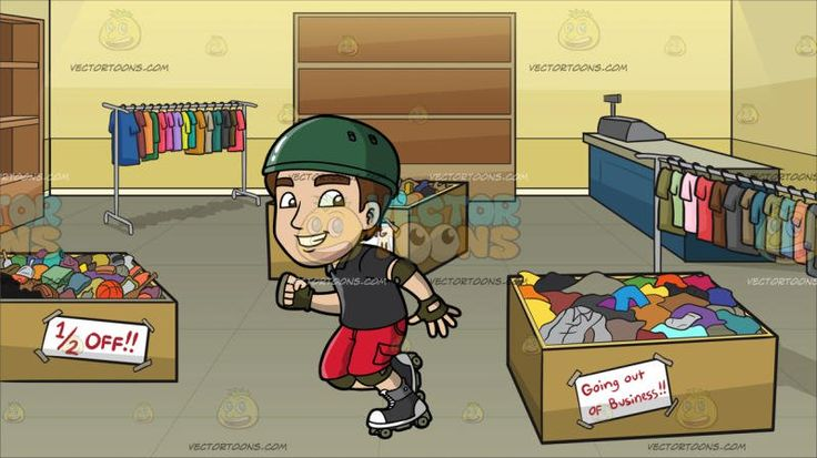 A Man Having Fun In Roller Skates At Store Going Out Of Business:  A man with brown hair wearing a green helmet black polo shirt red shorts black and white roller skates with gray wheels army green elbow and knee pads gloves grins while skating ahead. Set in an almost empty store with just a cash register on a blue with gray table empty brown shelves two clothing racks with multicolored shirts and three big light brown boxes filled with different clothes on sale.