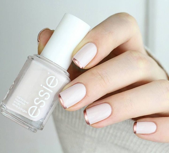 Rose Gold French Tip Nails - love this spin on a traditional french manicure!