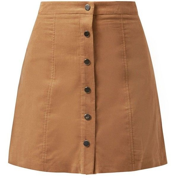 Camel Button Front Cord Mini Skirt ($12) ❤ liked on Polyvore featuring skirts, mini skirts, bottoms, saias, faldas, camel, short flared skirt, short brown skirt, mini skirt and short cotton skirts