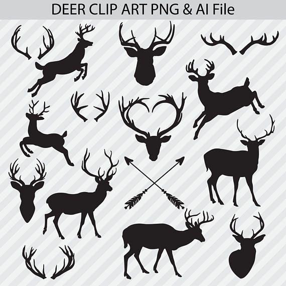 Deer Clipart Deer Silhouettes Deer Png Clipart Ai Vectors Etsy In 2021 Deer Silhouette Deer Clipart Deer Png