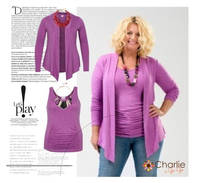 "Let's Play! Get your fun on in Charlie a Go-Go's ""Lola"" cardigan and ""Carly"" tummy tank in Orchid.  Sizes 12-18.  Proudly made in the USA."