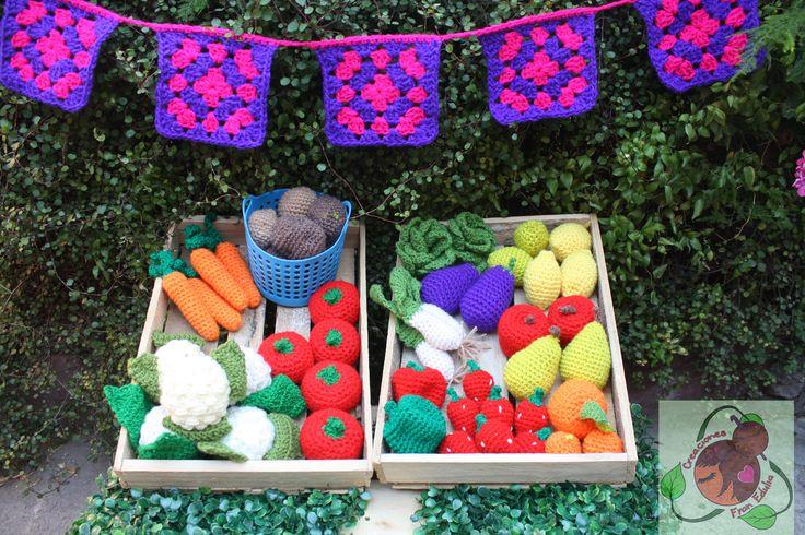 frutitas y verduras tejidas a crochet