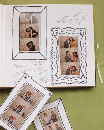 A photo booth produced two strips of images: one for partygoers to keep in a takeaway frame, another to place in this guest book along with their well-wishes.