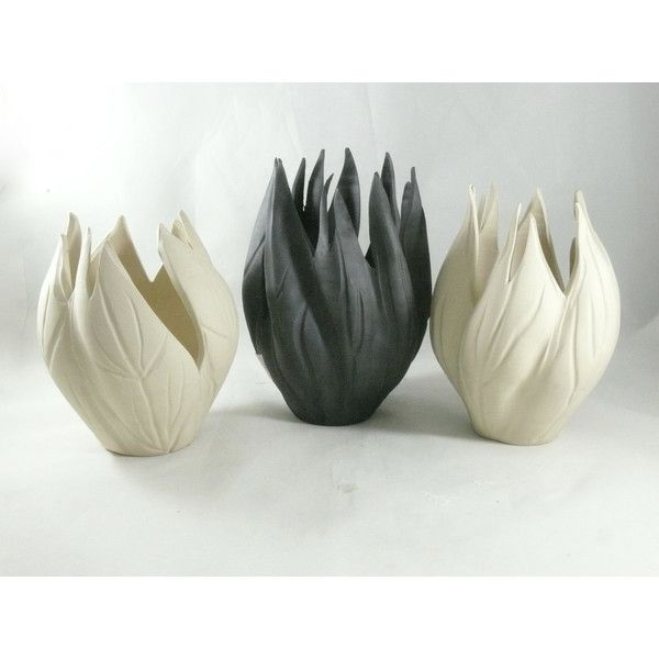 Ceramics and Pottery Vases, Set of 3 black and white art vases, studio... ($285) ❤ liked on Polyvore featuring home, home decor, ceramic vessels, black white home decor, black and white sculpture, black and white home accessories and ceramic sculpture