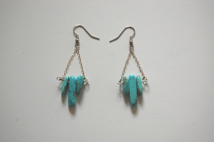 #Jewelry #earrings #gem #chain #fish #Hook: Turquoi Spikes, Jewelry Tutorials, Turquoi Earrings, Turquoise Earrings, Diy Jewelry, Turquoise Spikes, Earrings Tutorials, Jewelry Ideas, Spikes Earrings