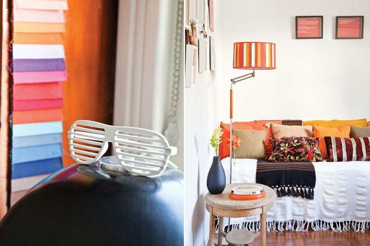 En su estudio, Laureano colocó un sofá que vistió con una manta de algodón (Feria de las Naciones), otra salteña de lana y almohadones (Fala...