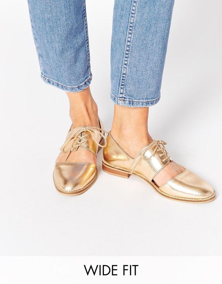 ASOS - MARCIE - Chaussures plates et larges en cuir