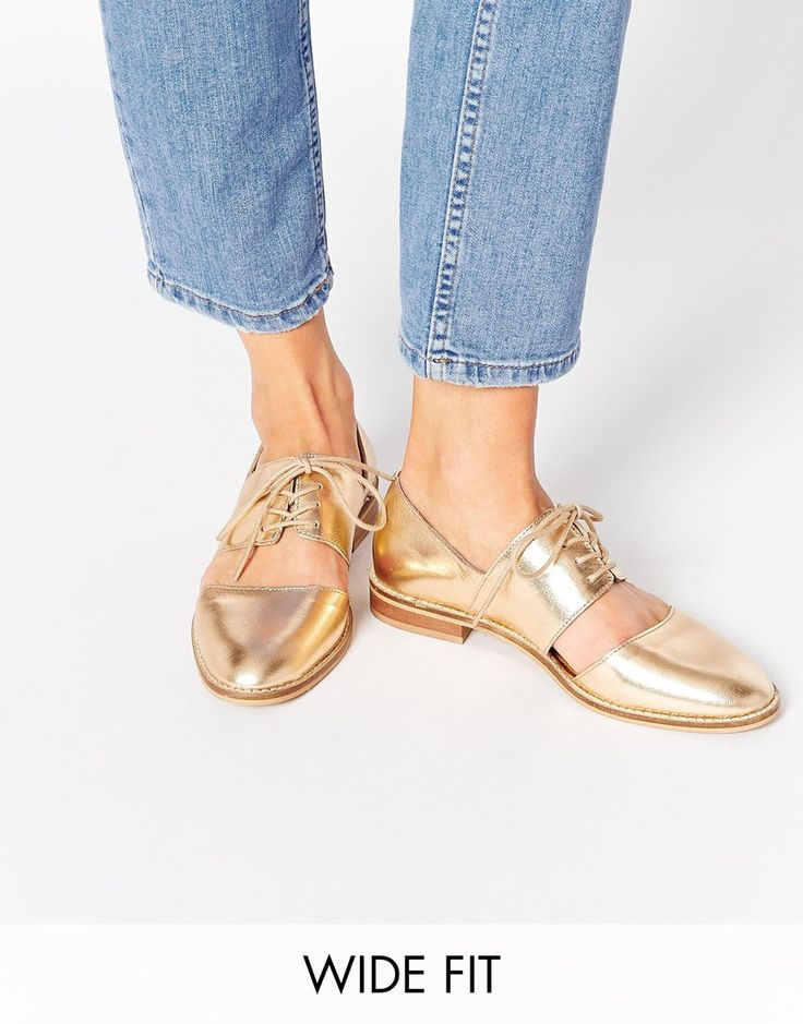 Image 1 of ASOS MARCIE Leather Wide Fit Flat Shoes $57