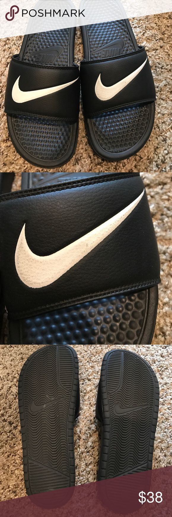 NIKE SLIDES MENS 8 women's 9.5 Good condition haven't worn in awhile. Still in good condition! Please view all pictures. One slide has a little dirt on the Nike swoop. NO TRADES/MERC/HOLDS Nike Shoes Sandals