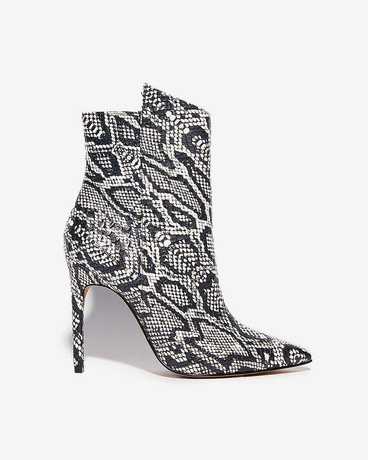 48f84671addb6 Express Snake Skin Thin Heel Booties  snakeskin  ad  heels  shoes ...