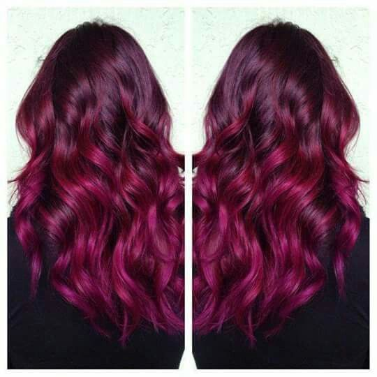 raspberry hair color. Love it!