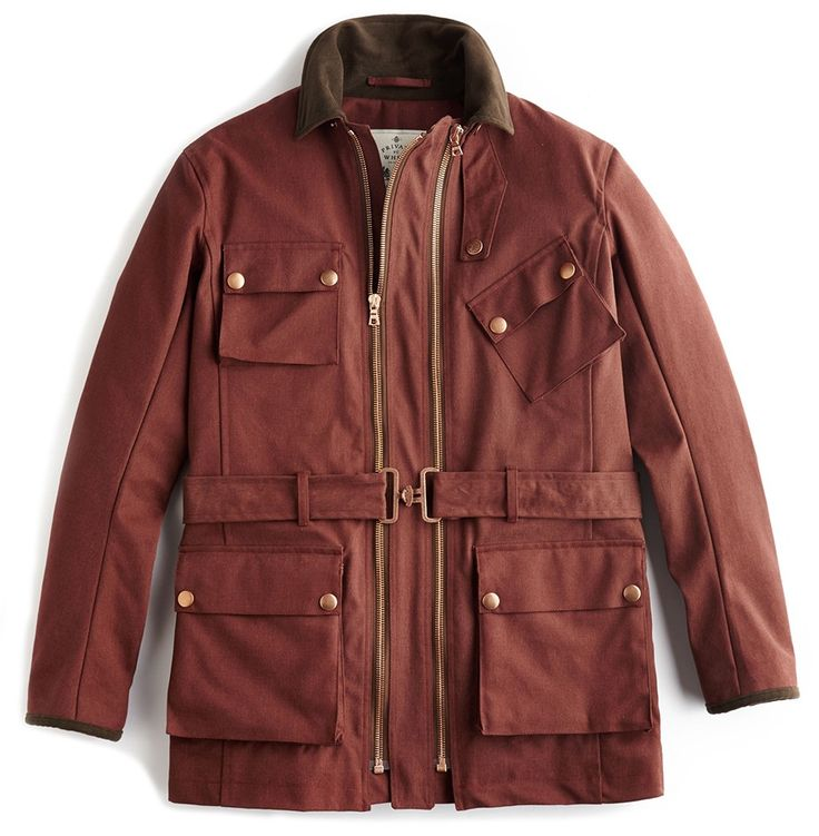 The iconic Twin Track biker-style jacket with dual sizing technology in Rust Cotton Canvas 7.