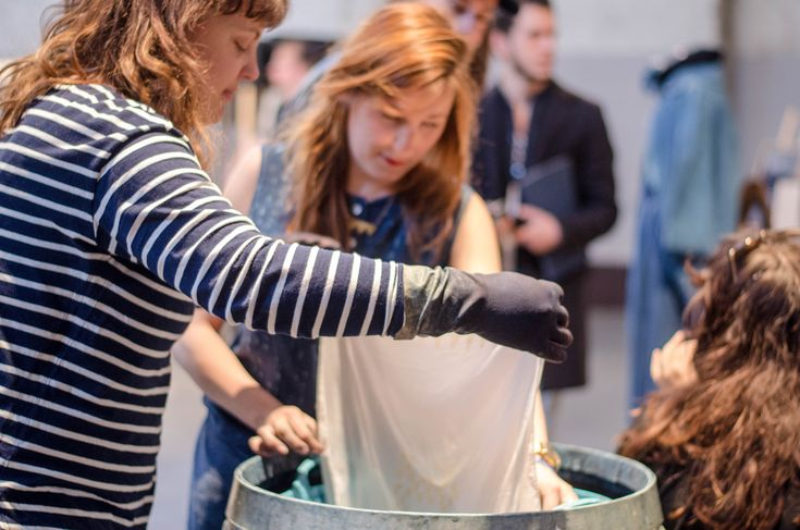 Discovering the traditional Katazome dyeing technique at Amsterdam Denim Days 2015.
