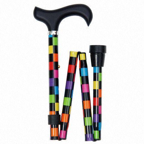 Canne de marche - Sassy - Derby - Pliable - Aluminium - Damier multicolore - 482