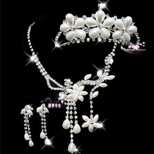 include 1 Tiara, 1 Necklace and 2 Earrings     very beautiful Wedding Bridal Jewelery Sets     High quality     It also comes with a very nice gift box at $55.99  http://www.bboescape.com/products/85/jewelry