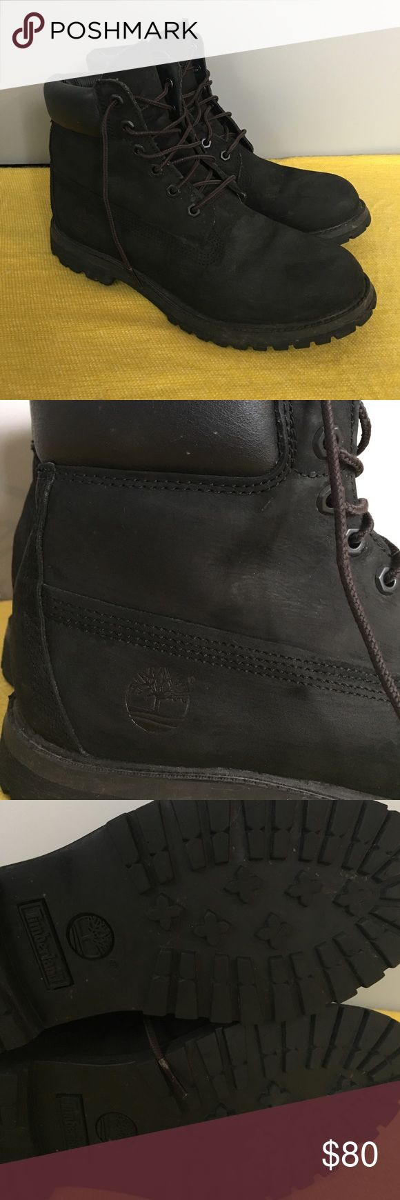 Black Timberlands Authentic Timberland boots. Minor wear. Size 9.5 women's (or 8 in men's). Timberland Shoes Winter & Rain Boots