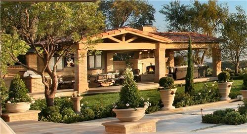 French Mediterranean: Potted plants, bird bath, cypress