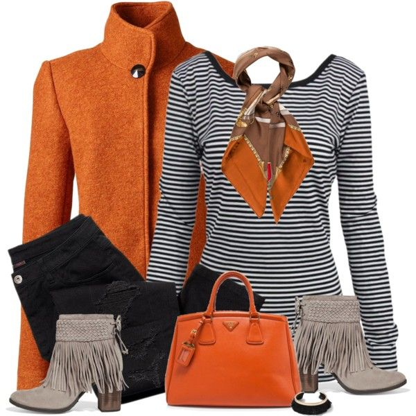 Orange & striped by csilla06 on Polyvore featuring Lands' End, Avon, Schutz, Prada, Miss Selfridge and Gucci