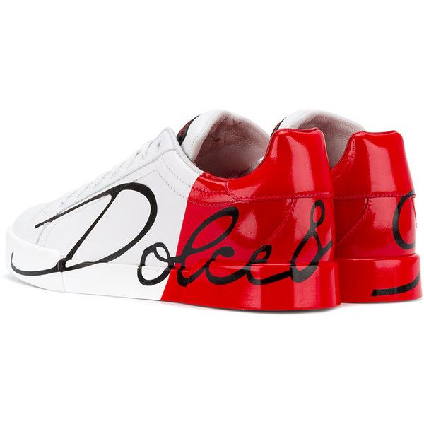 Dolce & Gabbana logo panel lace-up sneakers ($745) ❤ liked on Polyvore featuring shoes, sneakers, round toe shoes, lace up shoes, round cap, red and white shoes and dolce gabbana sneakers