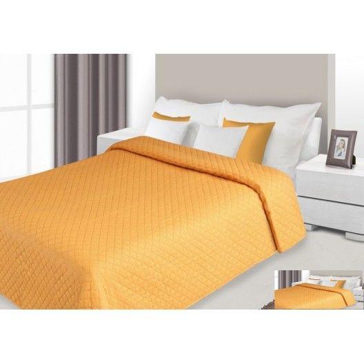 Prehoz na posteľ oranžovej farby s prešívaným vzorom