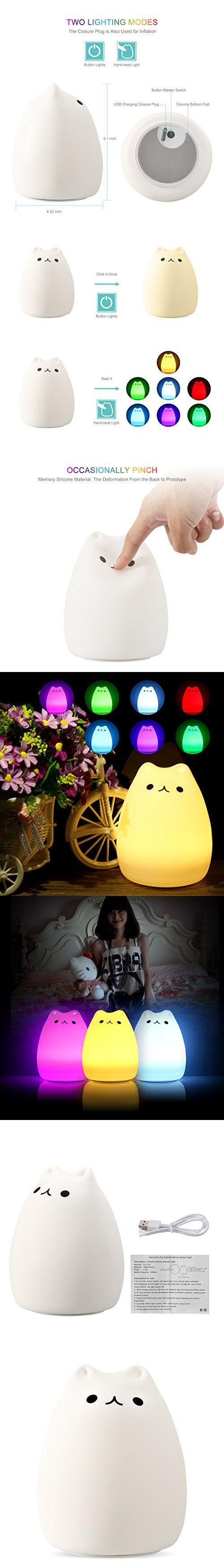 Led night light kickstarter - Colorful Silicon Cute Cat Led Night Light Tap Sensor Control Usb Rechargeable Lighting