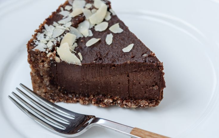 Raw chocolate tart made with avocados and and coconut oil with almond meal crust.  Sounds delish!