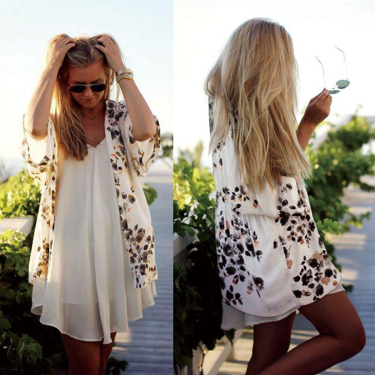 Women Kimono Cardigan 2016 Fashion Chiffon Blouse Floral Print Shawl Bikini Beach Cover Up Blouse Blouses