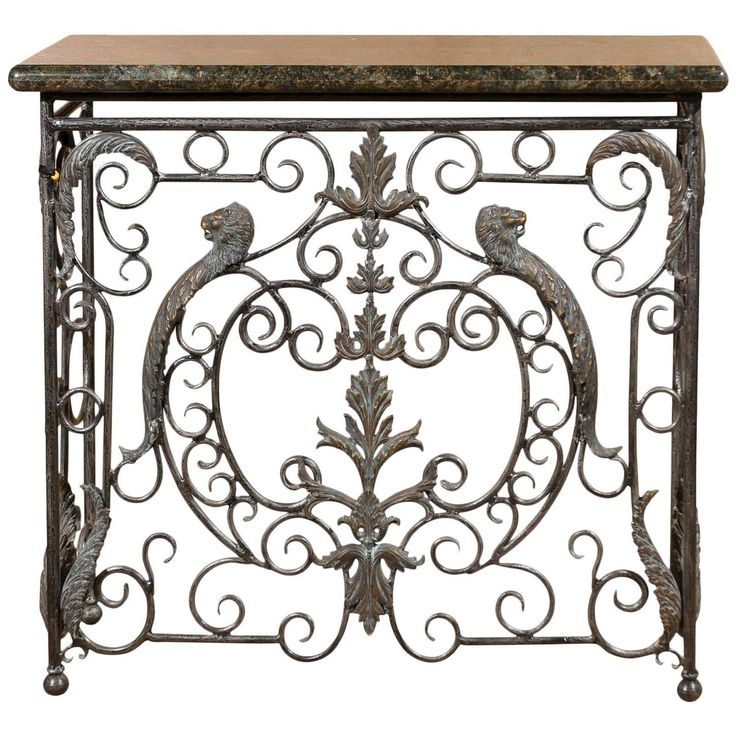 Midcentury Iron Console with Granite Top | From a unique collection of antique and modern console tables at https://www.1stdibs.com/furniture/tables/console-tables/
