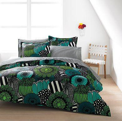 NEW! Marimekko Siirtolapuutarha Teal Duvet Set. http://www.beddingstyle.com/products/siirtolapuutarha_teal.asp #bedding #home #fashion