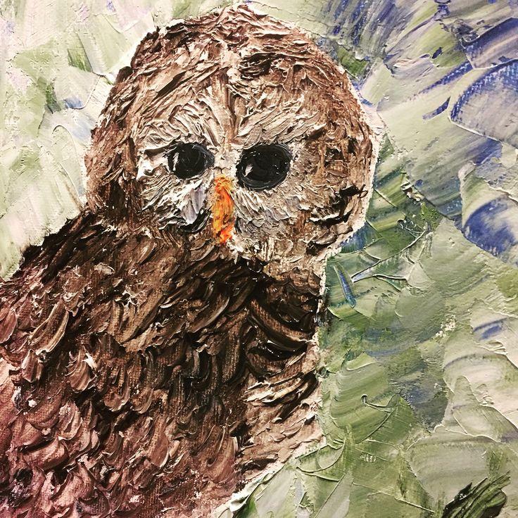 Owl painting, barred owl,  oil by Roey Ebert using popsicle stick. Http://www.roeyebert.com