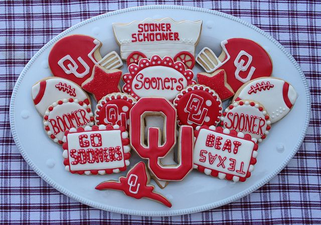 Sooner Cookie sweet treat platter inspiration OU Oklahoma Boomer Beat Texas Football