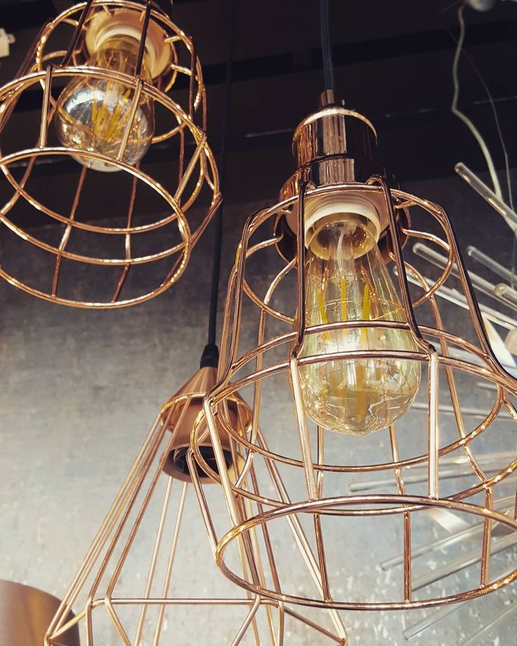 Beautiful Copper Cage Pendants with Vintage Edison Bulbs from our Award winning Irish Showroom