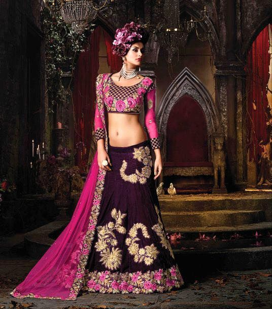 latest lehengas for reception  PURPLE DESIGNER INDIAN HEAVY VELVET GHAGRA CHOLI FOR WEDDING RECEPTION