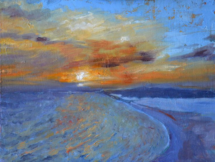 """Midsummer sunset over the Dorset Jurassic coast from the Isle of Portland.Greatly inspired by these views. The series is up to 12, all are small 9"""" x 12"""" only £295.00 unframed. 5 will be on display at White Stones Gallery, Easton, Portland from 31st October - 5th February."""