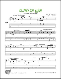 Print and Download 'Clair de Lune' from Suite Bergamasque by Composer Claude Debussy. Easy Guitar Sheet Music. MakingMusicFun.net Edition Includes Unlimited Prints. Instrumental Solo in D Major. Format:PDF Pages:2