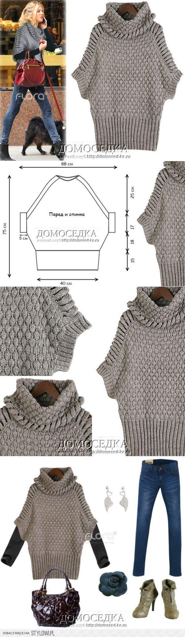 Пончо спицами | ДОМОСЕДКА | вязание (СПИЦЫ КРЮЧОК МАШИ… na Stylowi.pl