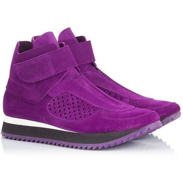 Pedro Garcia - OLIMPIA Purple suede perforated panel high-top sneakers ($390) ❤ liked on Polyvore featuring shoes, sneakers, purple, hi tops, pedro garcia shoes, purple high tops, suede high tops and perforated shoes