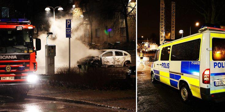 Våldsamt upplopp i Rinkeby - kastade sten mot polis.