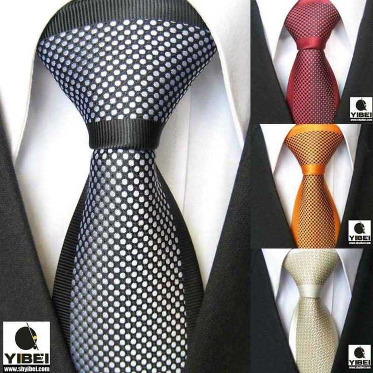 YIBEI Coachella Men's ties Border Polka Dot Spots Necktie Jacquard Woven Neck tie fashion Tie for men dress shirts