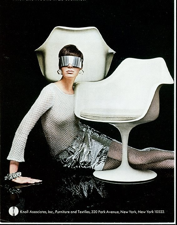 Knoll ad - Tulip chair by Eero Saarinen.  (note futuristic tone, embedded in synthetic materials, surreal form.  See Aluminum, Vital forms)