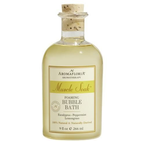 Aromatherapy Soak Foaming Bubble Bath The Muscle Soak Bubble Bath's essential oils of Eucalyptus, Peppermint and Lemongrass are fresh, cooling and invigorating.