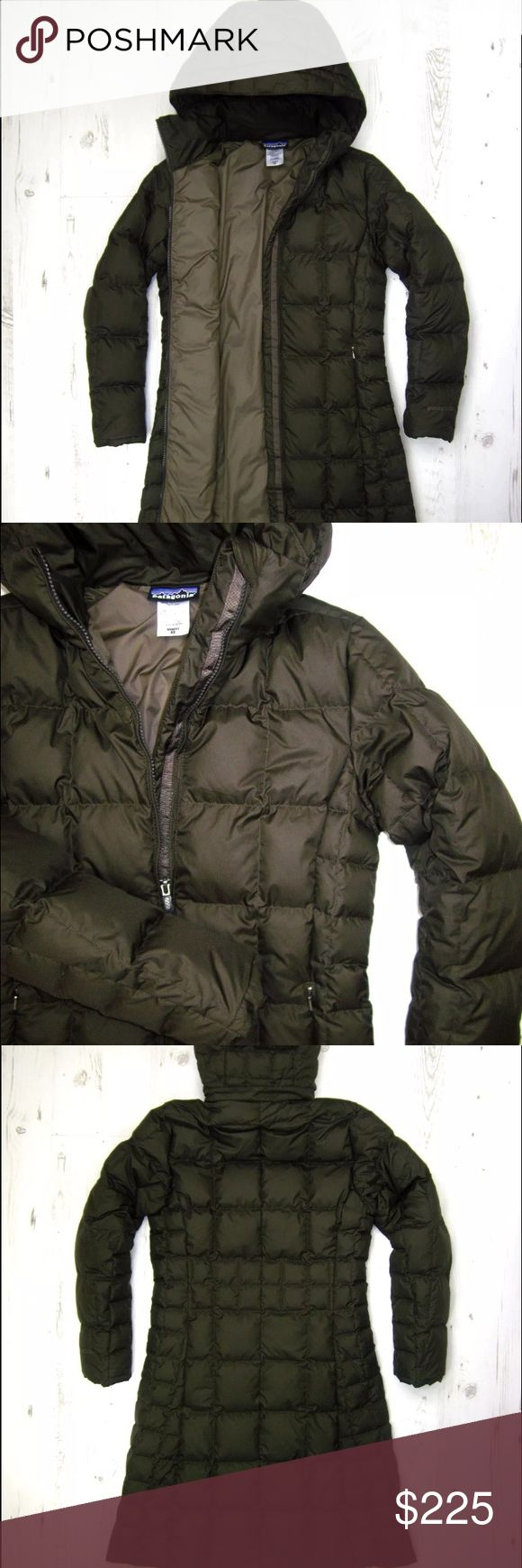 Patagonia Down With It Parka Like New Beautiful Patagonia parka in like new condition. Just purchased online secondhand but I don't like the style. Color is more brown than green as seen in photos. Older version of down with it Parka but is super warm! Photos are from original seller Patagonia Jackets & Coats Puffers