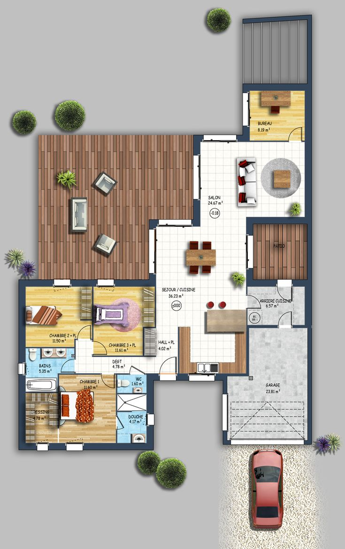 Agencement intérieur d'un plain-pied à l'architecture moderne, chaque m² sont…