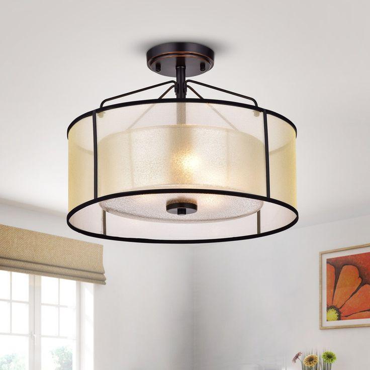 Warehouse of Tiffany Darlix 3-light Oil Rubbed Bronze Semi-Flush Drum Light