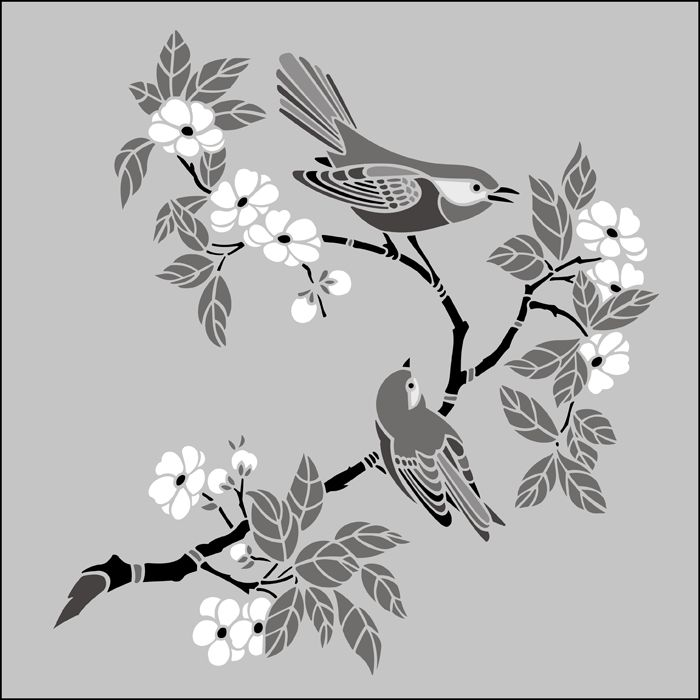 """www.stencil-library.com; JA116 - Birds & Blossom No 3. Size: 14.2"""" x 13.3"""" (361 x 338mm). Birds symbolize enlightenment, perspective, swiftness, vision and prophetic knowledge."""
