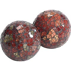 Red & Gold Mosaic Spheres  Clearance $4.48  Orig. $6