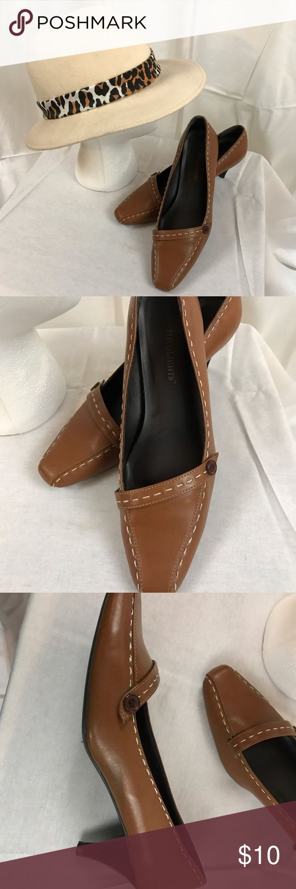 "Highlights Size 7W Camel Pumps With Stitching If you need a nice pair of career Pumps 👠 that compliment this is a great pair for your wardrobe. Size 7W and a 2"" heel these lightly used shoes are a good buy. highlights Shoes Heels"