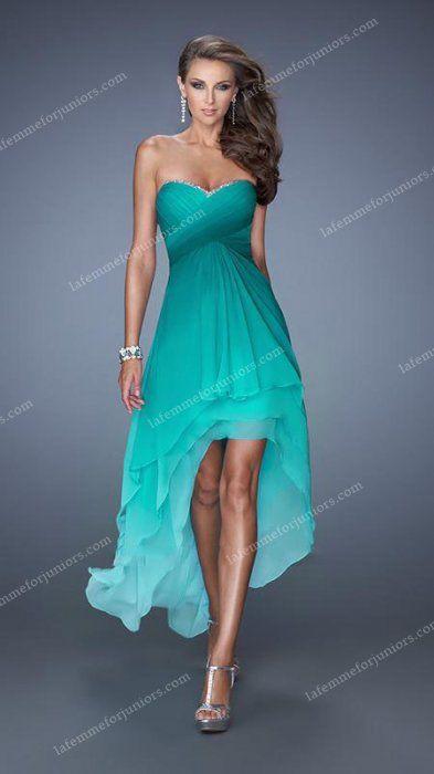 Splashy Strapless Hi Lo Homecoming Gown with Tiered Hemline