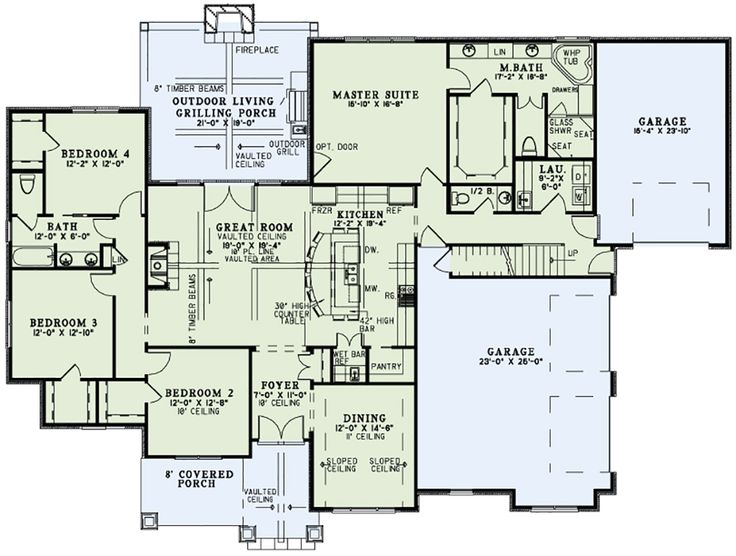 Craftsman Style House Plan - 4 Beds 3.5 Baths 2470 Sq/Ft Plan #17-2560 Main Floor Plan - Houseplans.com
